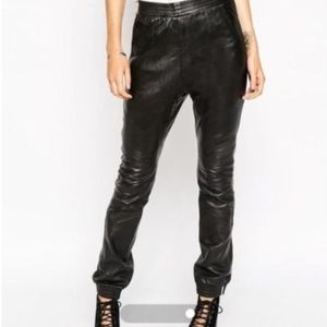 One Teaspoon 100% Leather Drop Rise Jogger Pants
